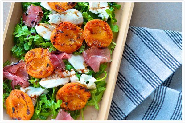 Apricot-Prosciutto-Mozzarella_Salad: Grilled Apricot, Salad Recipes, Apricot Salad, Mozzarella Salad, Mozzarella Favoriterecip, Ham Recipes, Autumn Recipes, Favorite Recipes, Salad Dinners