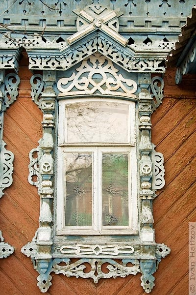 Wooden window in Ryazan city, Russia. soo you can find this anywhere but america