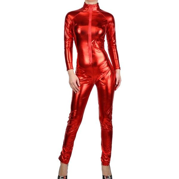 Women's Red Metallic PVC Fetish Catsuit Bodysuit ($27) ❤ liked on Polyvore featuring intimates and shapewear