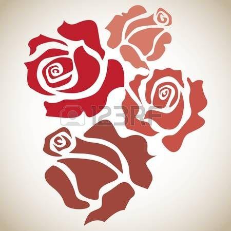 Compra imágenes y fotos : cuatro rosas rojas - ilustración boceto Image 12450046.