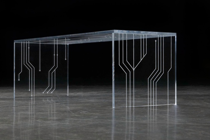 The 'Transistor' by Barberini & Gunnell- made in the pattern of a circuit, in tempered extra-clear glass or acrylic glass (Plexiglas):  http://www.archello.com/en/product/transistor-ii   OMG.  I love this!