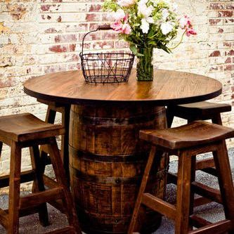 Vintage Whiskey Barrel Pub Table -   like this for the bar/entertainment area in the basement.