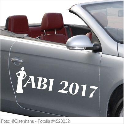 Autoaufkleber und Sticker ABI 2017 mit Mädchen