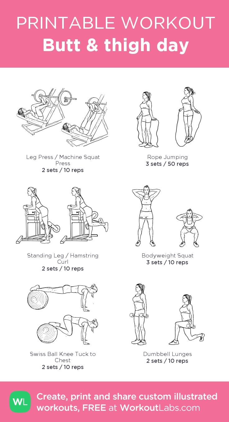 Butt & thigh day:my visual workout created at WorkoutLabs.com • Click through to customize and download as a FREE PDF! #customworkout