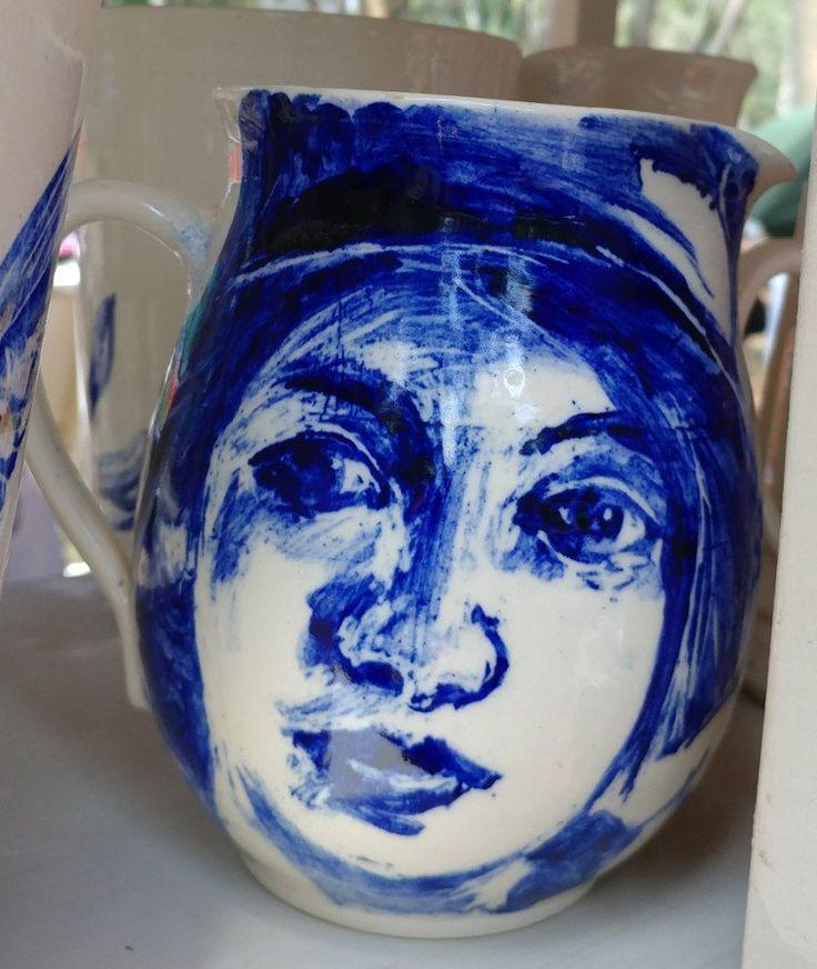 M Jug - face- cobalt blue