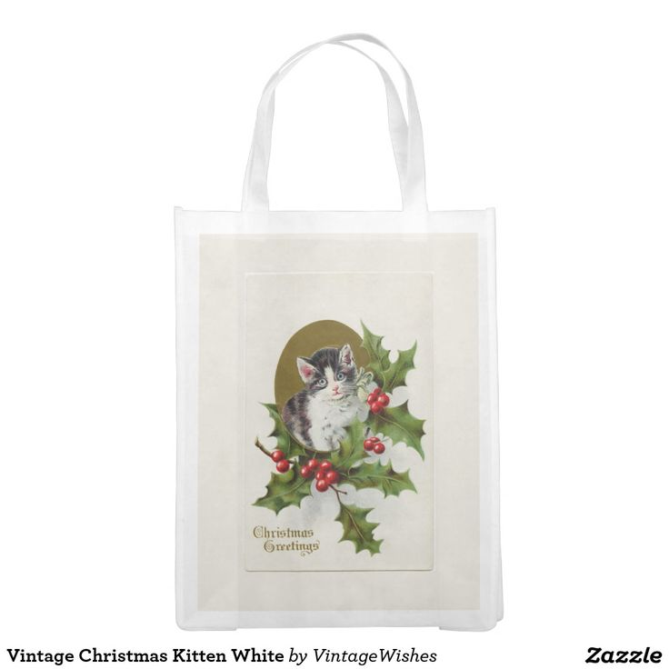 Vintage Christmas Kitten White Grocery Bag