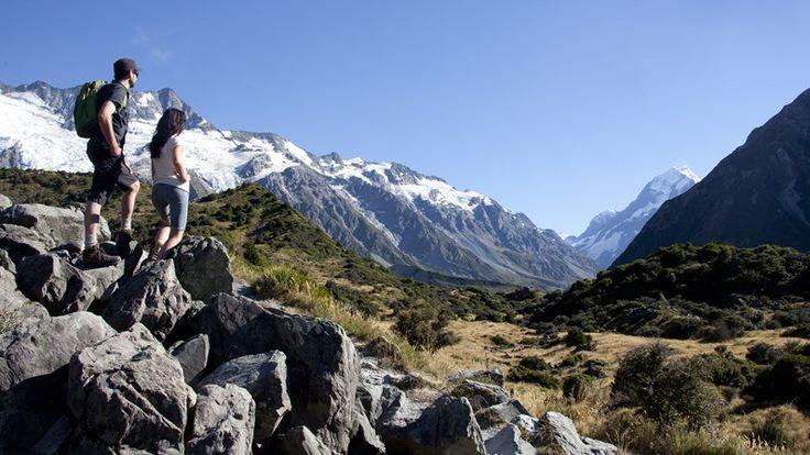 View to Aoraki / Mount Cook from the Alpine Memorial, Hooker Valley