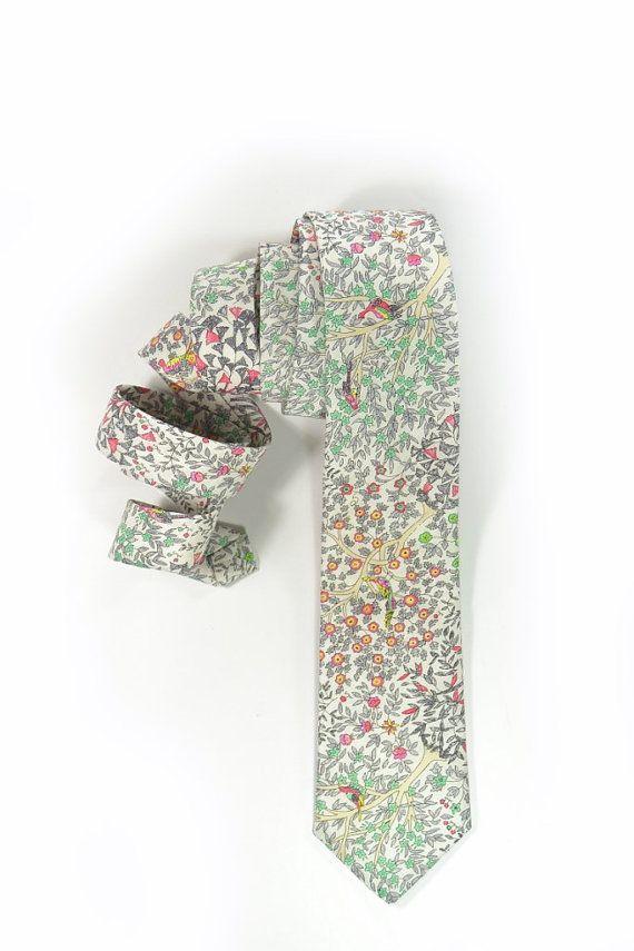 Floral tie.Wedding Mens Necktie  Pink yellow green and grey by speaklouder
