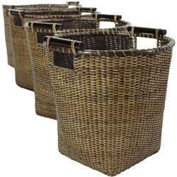 A beautiful collection of top quality natural fiber baskets. Crafted from tightly woven Asian split vine rattan and finished in an earthy, refined antique stain, these woven baskets have a myriad of uses around your home. Use one for newspapers and magazines in the living room, another for hats and gloves near the door, and the small design for a decorative waste basket or planter.