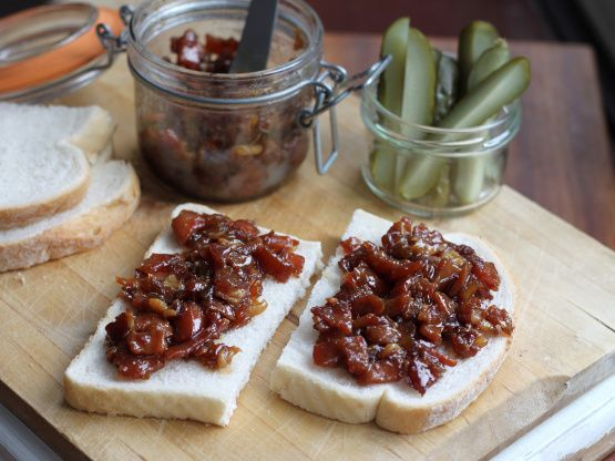 I saw this thing called Bacon Jam being served on one of the episodes of Eat St. on Food Network. So off I went in search of a recipe and found this one by Not Quite Nigella. I did make a slight adjustment.