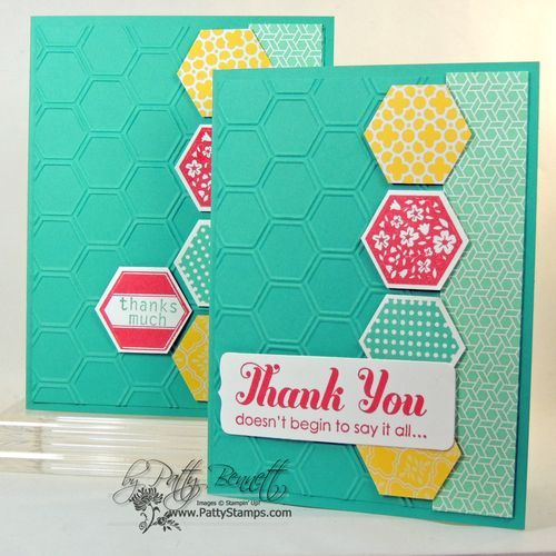 handmade card ... Six Sided suite ... luv the Bermuda Bay background ... good design for a notecard set ... Stampin' Up!
