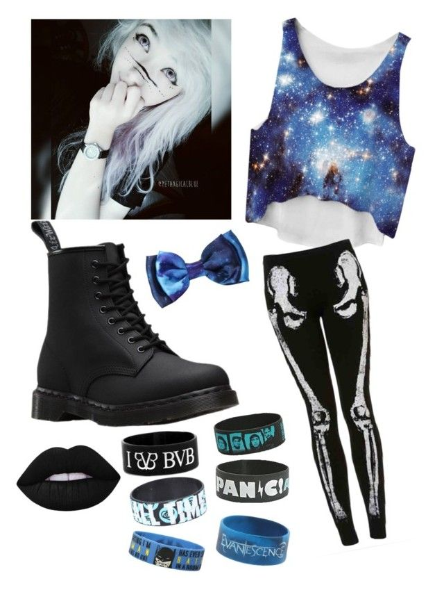 """That blue emo-"" by pastle-bands-movies-emo ❤ liked on Polyvore featuring Dr. Martens and Lime Crime"