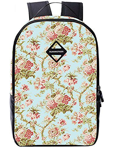 BLOOMSTAR Lightweight Flora School Backpack Cute Laptop Bag Casual Daypack Travel Rucksack Light Blue >>> Visit the image link more details. Note:It is Affiliate Link to Amazon.