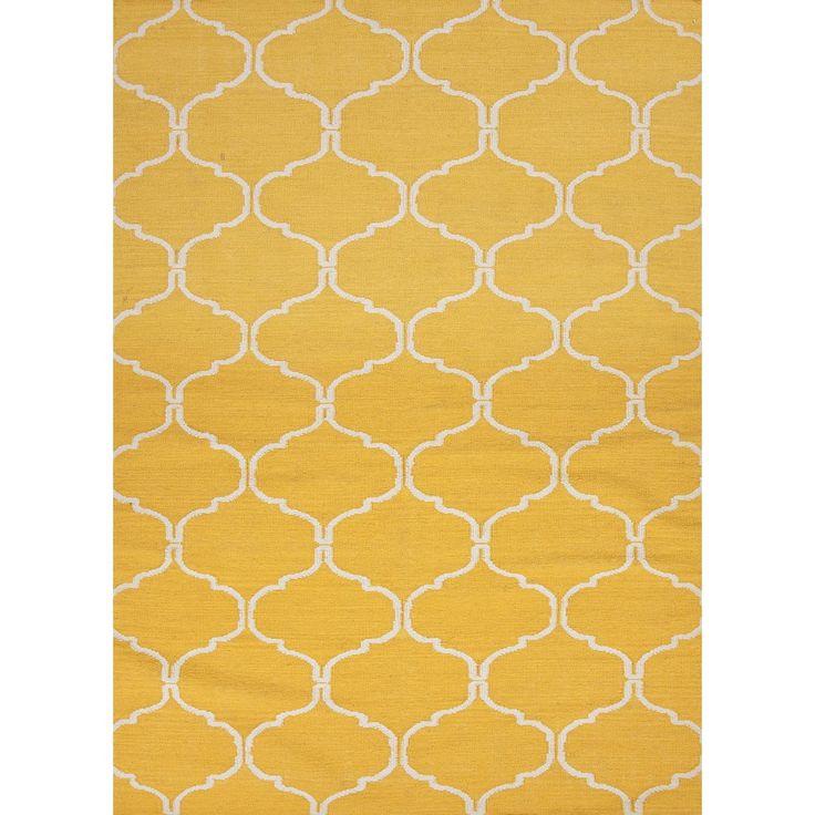Handmade Geometric Flat Weave Yellow Wool Rug 8 X 10