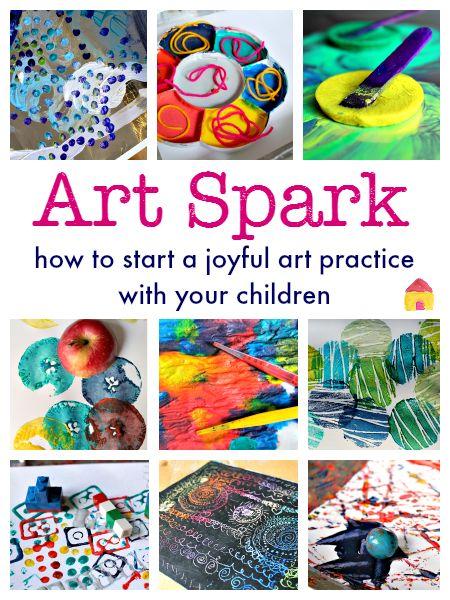 Kids Art! Fun process art ideas for children, how to set up an art space for kids, and an online art course for children!