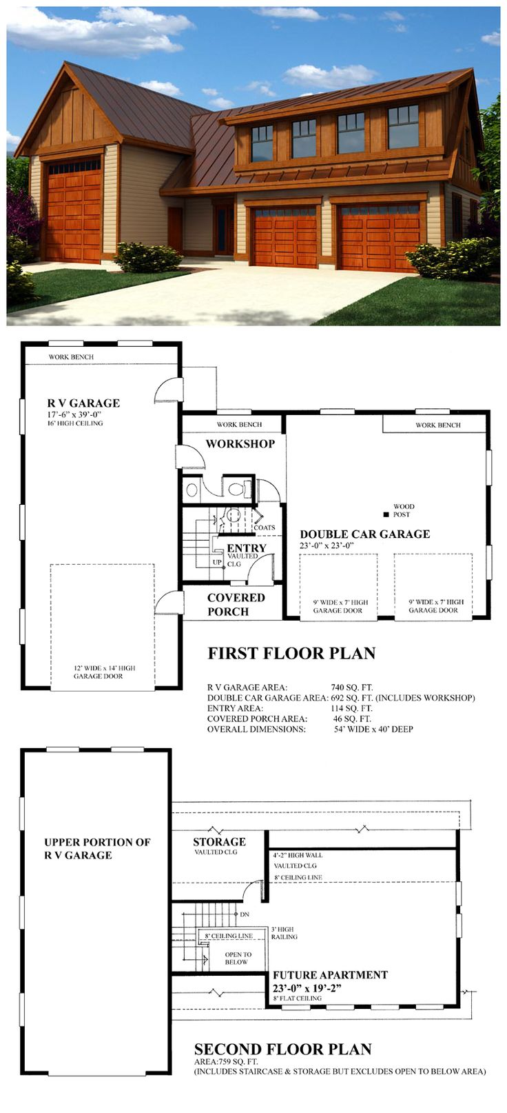 27 best 3 car garage plans images on pinterest 3 car for Rv apartment plans