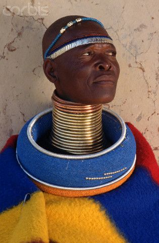 Ndebele Woman Wearing Traditional Neck Rings