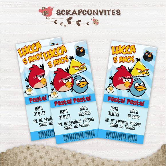 Convite Ingresso Angry Birds   SCRAPCONVITES   2ECC61 - Elo7