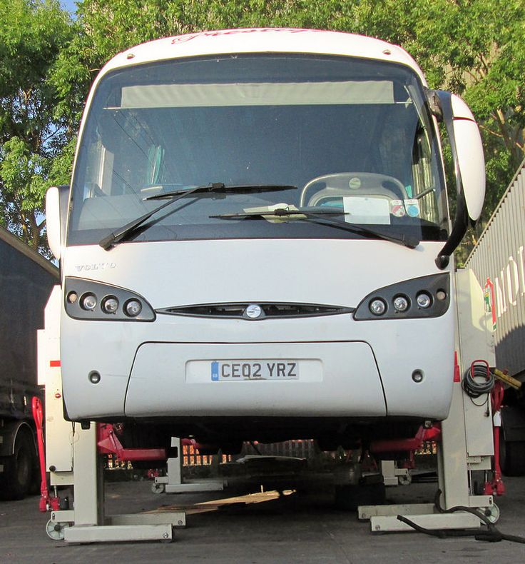 Volvo coach on mobile 4 post lift July 2014 1