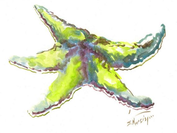 green blue starfish painting, 12 x 9 in, original watercolor
