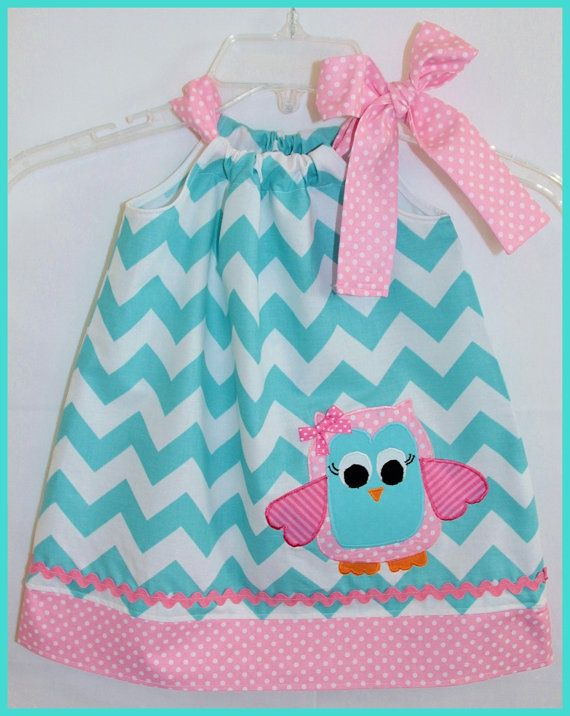 Whimsical Owl Aqua Chevron Applique dress by LilBitofWhimsyCoutur, $25.00