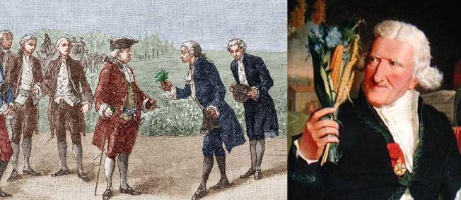 24 août 1786. Marie-Antoinette est faite reine des patates par Antoine Parmentier. --- Roi éclairé, Louis XVI fixe une fleur de pomme de terre à sa boutonnière et sur le chapeau de la reine pour en faire la promotion.