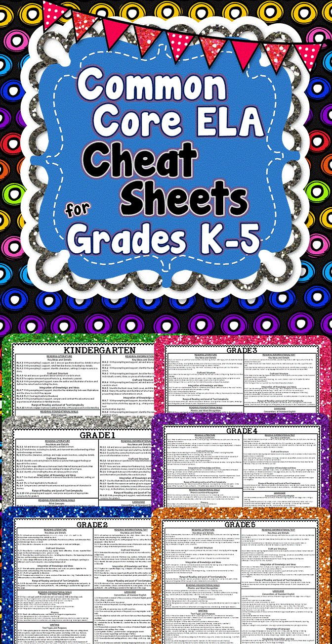 This freebie has Common Core ELA Cheat Sheets for K-5! Each cheat sheet lists every Common Core Language Arts standard on 1 page. This is so helpful for all the special education teachers out there who almost always have more than one grade level in their classroom. Now you can have all your standards at your fingertips for all your students!! Download at: https://www.pinterest.com/pin/99642210483275808/
