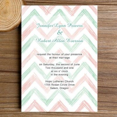 mint green and blush chevron wedding invitations EWI279 as low as $0.94 | #elegantweddinginvites