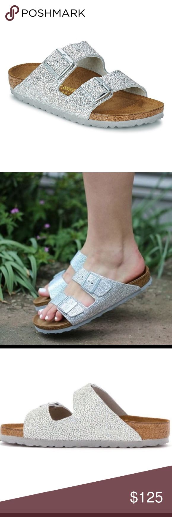 Birkenstock Arizona Silver Pebbled Leather 38 Love these. Birkenstock Shoes Sandals