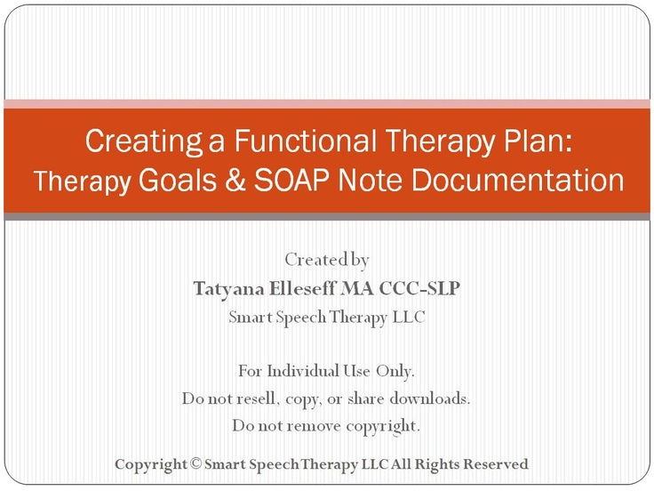 creating a functional therapy plan therapy goals soap note
