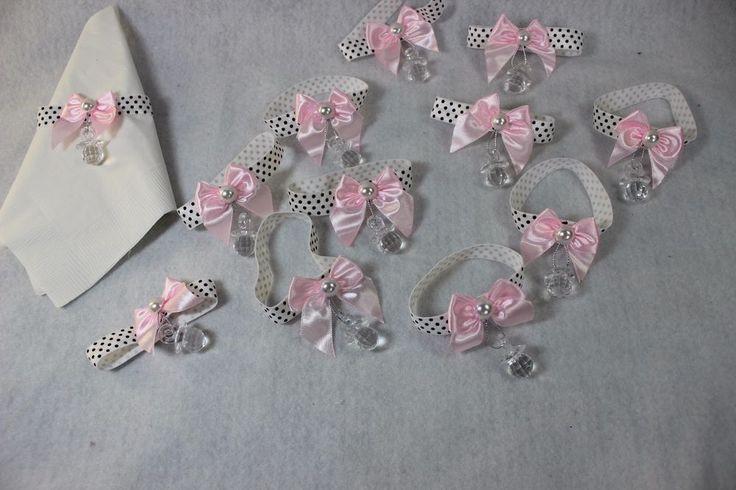 12 cute dot elastic hand corsage welcome baby girl shower party favors recuerdo #designedbyTeresaC #BabyShower