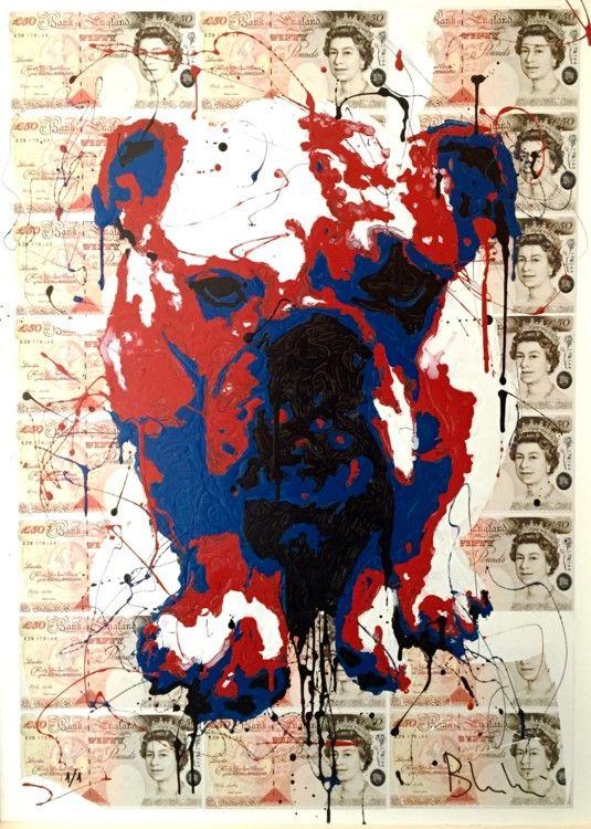 Jordan Capelli - Peinture, 60x86x0,5 cm ©2016 par PazBlandina - Pop Art, Street Art (Art urbain), Papier, Animaux, Paz, Blandina, Bulldog, Capelli