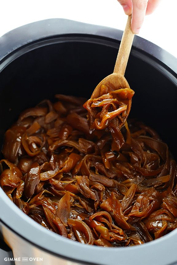 I am going to do this!! Oh yes!!! Slow Cooker Caramelized Onions -- a quick and easy tutorial | gimmesomeoven.com