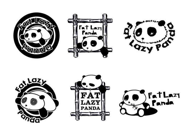 Rough logo ideas for Fat Lazy Panda. Smoking paraphernalia. By Sama Studio Ltd.