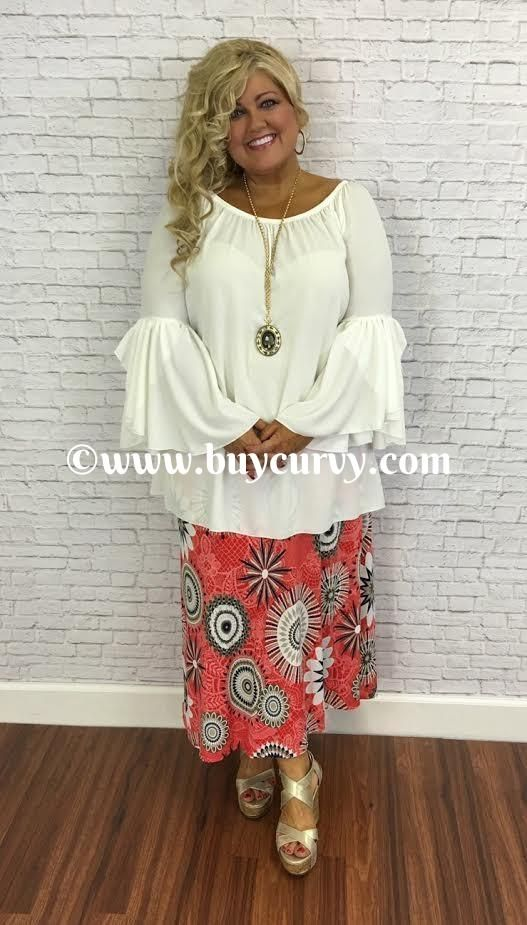#3-D Coral Maxi Skirt with Navy/White Geo-Print SALE!! SW