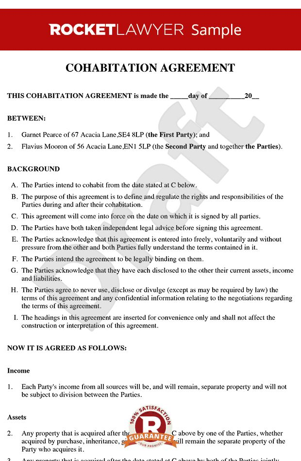 cohabitation agreement sample living together nup accommodation - sample cohabitation agreement template