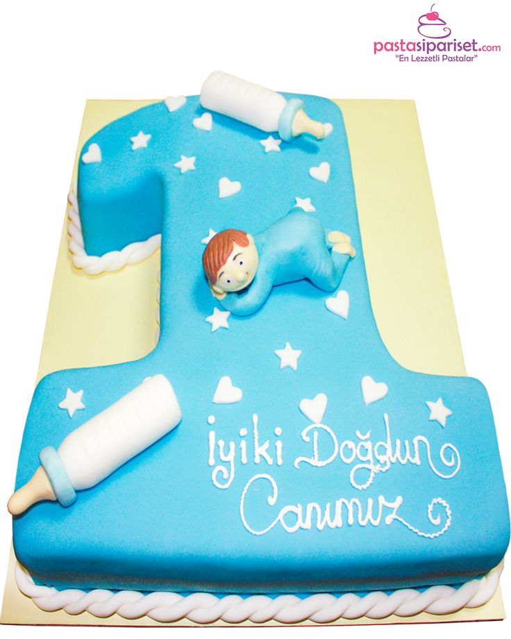 1 Yaş Mavi Doğum Günü Pastası