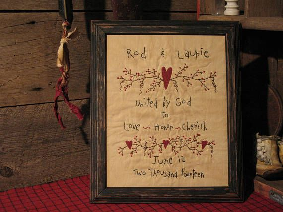 This primitive wedding sampler is made to order with your own personalization. Hand-stitched on aged muslin using my special aging potion (coffee, cinnamon & vanilla). Your stitchery will come displayed in a black wooden frame measuring 8 x 10 that has been distressed to add to the primitive look. If this is a gift for newlyweds, I am happy to ship directly to the couple complete with gift wrapping and gift card (with your choice of wording). Please allow approximately 7-10 days for me to...
