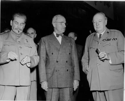 """Truman, Stalin, and Churchill during the Potsdam Conference The Potsdam Conference was the last major meeting of the leaders of the three main Allied powers   the famous """"Potsdam Proclamation"""" on July 26, which promised """"prompt and utter destruction"""" to Japan if it did not surrender. Photo:President Harry S. Truman with Soviet Prime Minister Joseph Stalin and British Prime Minister Winston Churchill at Cecilienhof Palace during the Potsdam Conference. 7/17/45."""