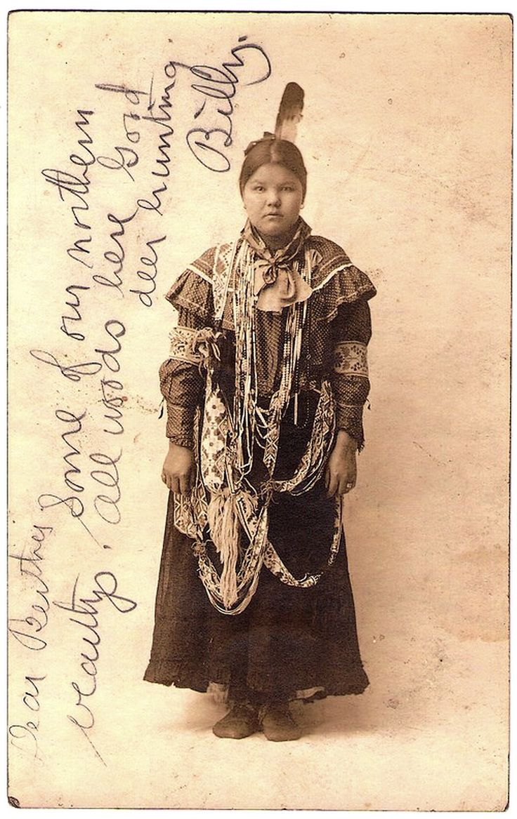 POTTAWATOMI Indian Princess, Wabeno, Forest County Potawatomi Community, Wisconsin, late 1800s or very early 1900s. Early Real Photo Postcard (written on front, not back), edited before 1907.