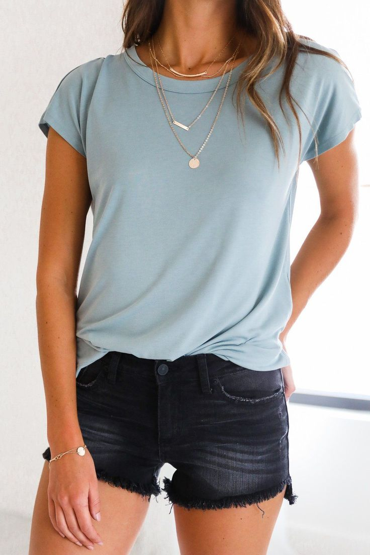 Black t shirt goes with - Black Sands Beach Denim Shorts And A Pale Blue T Shirt