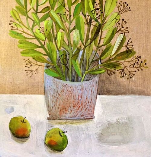 Will's Art Warehouse - contemporary fine art and gallery, modern oil paintings Crab Apples and Evergreen