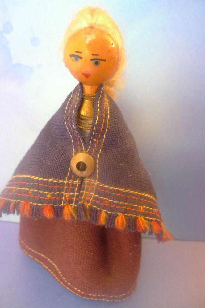 Vintage Soviet Latvian Latvia Wooden Handmade DOLL Ethnic Folk Costume Dress #DollswithClothingAccessories