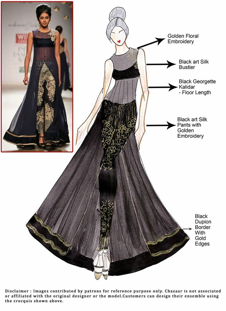 DIY Black Floor Length Kalidar Suit. sketch, dress, black, fashion, art, style