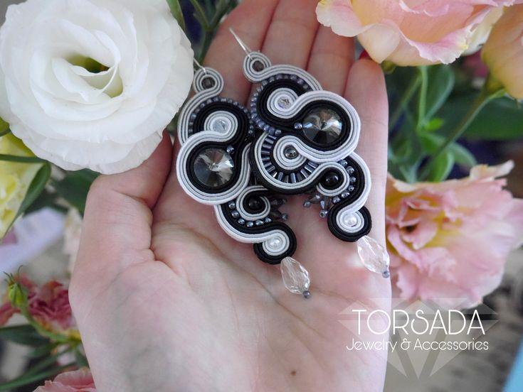 TORSADA - kolczyki sutasz szaro czarne długie afrodyta/ long dangle earrings soutache