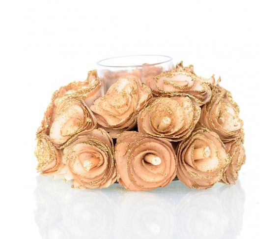 4,95 € - Portacandela natalizio con rose dorate, dimensione cm. 13.