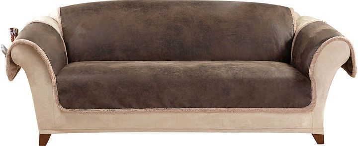 Sure Fit Vintage Faux Leather Reversible Pet Friendly Sofa Slipcover