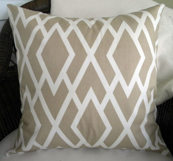new designer decorative throw pillow cover lattice print tan and ivory 18
