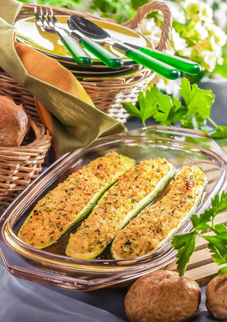 Courgettes farcies. #courgettes #riz #legumes #inspiration #vegetarien #bosto