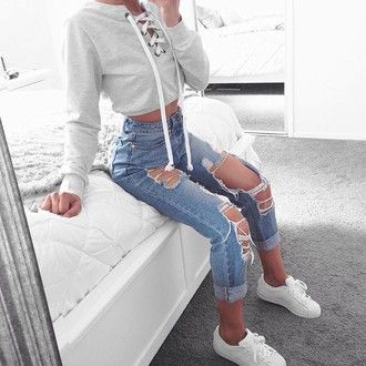 jacket white sneakers hoodie cropped hoodie high waisted jeans levi's ripped…